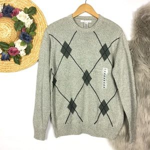 NEW Geoffrey Beene argyle chunky knit sweater